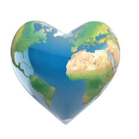 green earth: love planet 3d concept - heart shaped earth isolated on white Stock Photo