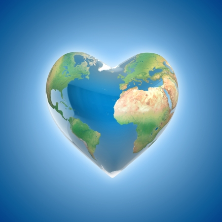 blue earth: love planet 3d concept - heart shaped earth