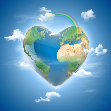 happy world: love planet 3d concept - heart shaped earth surrounded with clouds and rainbow
