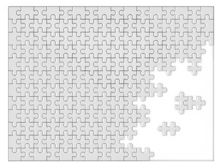 missing link: blank unfinished jigsaw