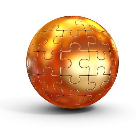golden globe: golden spherical jigsaw