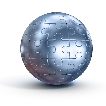 metal structure: spherical jigsaw Stock Photo