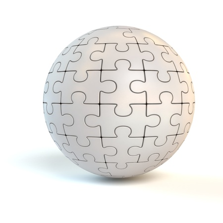 sphere icon: spherical puzzle Stock Photo