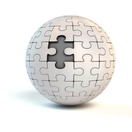 missing link: missing piece on spherical jigsaw - puzzle 3d concept
