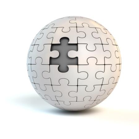 missing piece: pieza que faltaba en el rompecabezas esf�rico - Concepto de rompecabezas 3d
