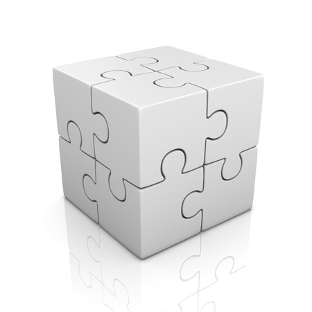 red puzzle piece: cubical puzzle - individuality, solving problem 3d concept Stock Photo