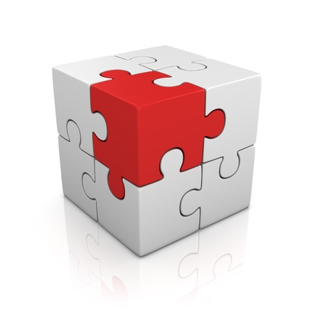 group solution: cubical puzzle with one red piece - individuality, solving problem 3d concept