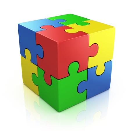 kocka: színes kocka 3d puzzle Stock fotó