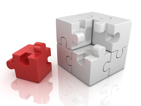 individuality: cubical puzzle with one red piece - individuality, solving problem 3d concept