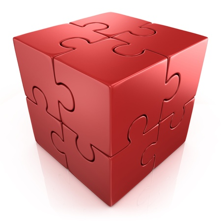 individuality: red cubical puzzle - individuality, solving problem 3d concept