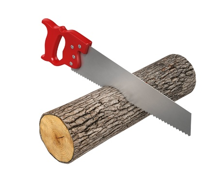 handsaw: saw cutting the wood