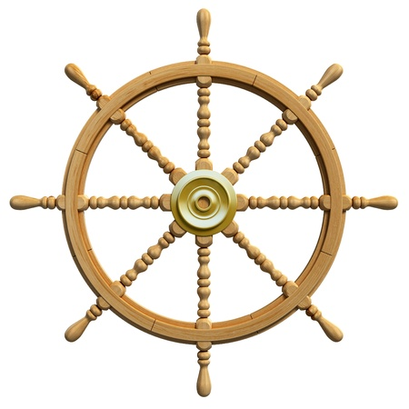 rudder: 3d ship wheel isolated on white background