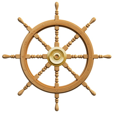 steer: 3d ship wheel isolated on white background