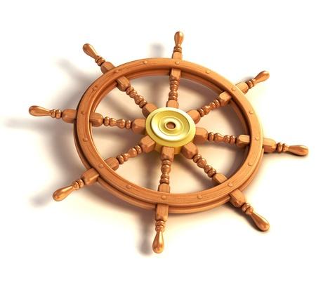 timon barco: Rueda de la nave 3d aislado en el fondo blanco