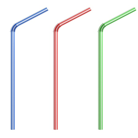 Colorful drinking straws isolated photo