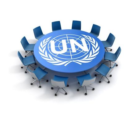 peace treaty: UN meeting 3d concept