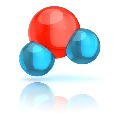 hydrogen: water molecule 3d illustration isolated on white