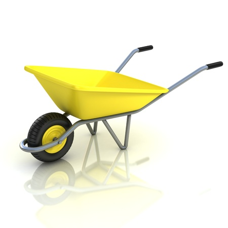 wheelbarrow: 3d wheel barrow isolated on the white background