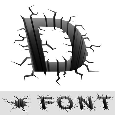 d: cracked font letter D
