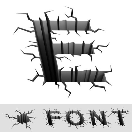earthquake crack: cracked font letter E Stock Photo