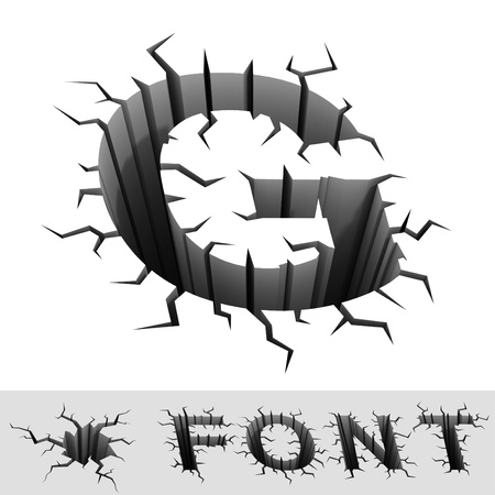 crackle: cracked font letter G Stock Photo