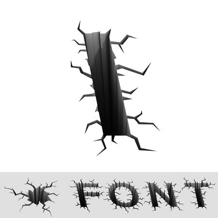 earthquake crack: cracked font letter I
