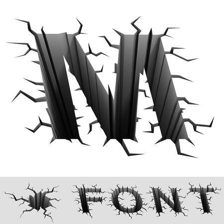 letra m: fuente agrietado letra M