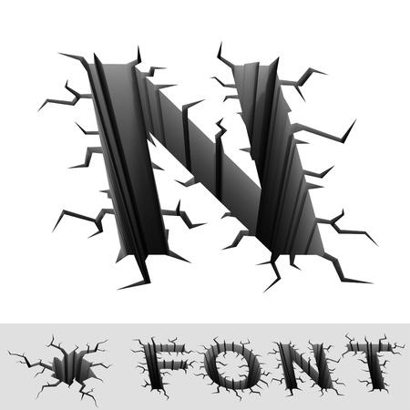 letter n: cracked font letter N Stock Photo