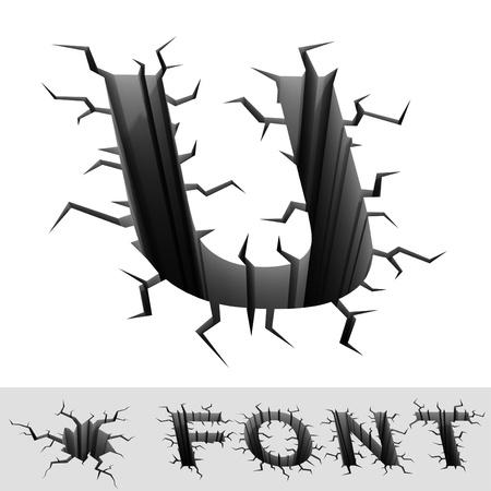 crackle: cracked font letter U