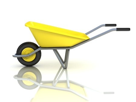 barrow: 3d wheel barrow isolated on the white background