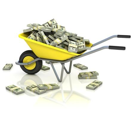 wheelbarrow: wheelbarrow full of money - wealth, fortune, capital, earnings, lottery, dollar 3d concept Stock Photo