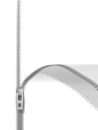 Reißverschluss isoliert auf weißem