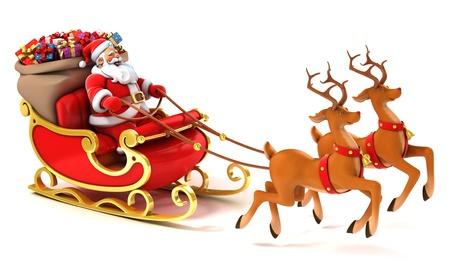 pere noel: Santa luge cerfs