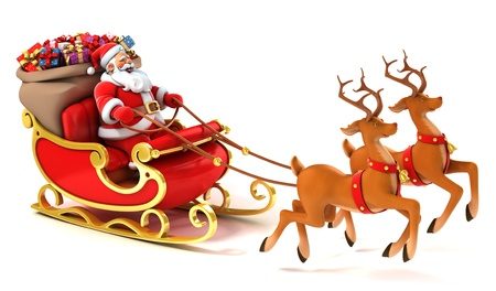 cartoon santa: santa sledge deers