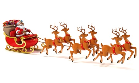 santa sledge deers photo