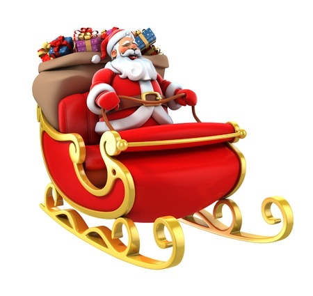 santa sledge deers Stock Photo - 16598321