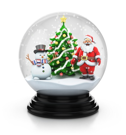 snowdome tree with snowman and santa photo