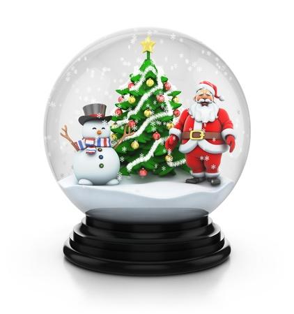 snowglobe: snowdome tree with snowman and santa