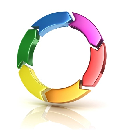 design process: colorful arrows forming circle - cycle 3d concept Stock Photo