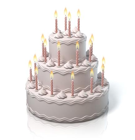 birthday candles: birthday cake, anniversary cake Stock Photo