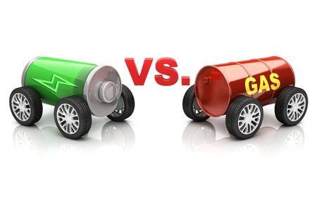 electro world: electric car vs  gas car Stock Photo