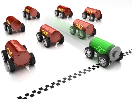 ozone friendly: electric car and gas car race