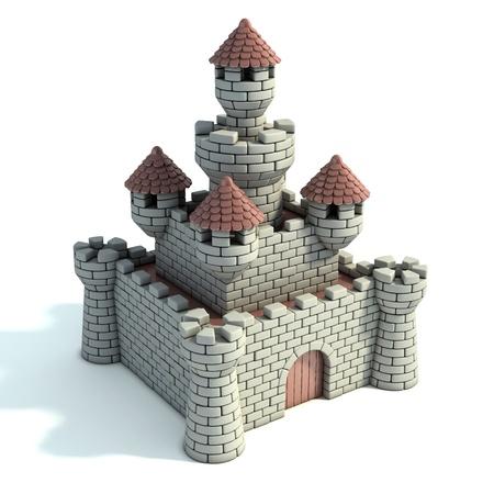 cartoon building: castle 3d illustration