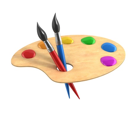 Wooden art palette with paints and brushes photo