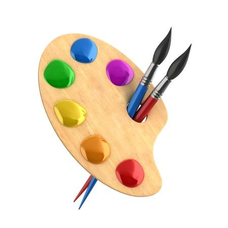 Holzkunst Palette mit Farben und Pinsel Standard-Bild