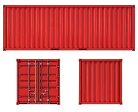 cargo container voor-zij-en achteraanzicht Stockfoto