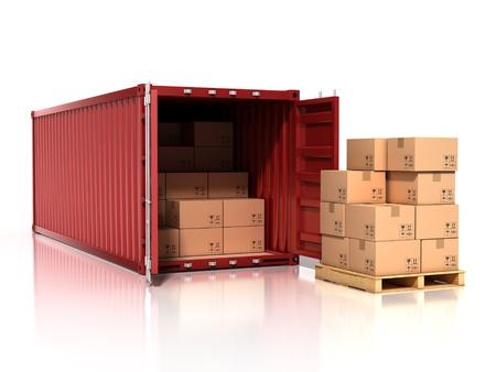 szállítás: tartály nyitott kartondobozok