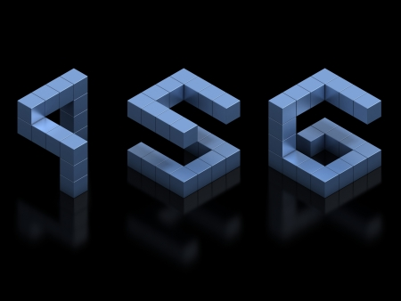 cubical 3d font numbers 4 5 6 photo