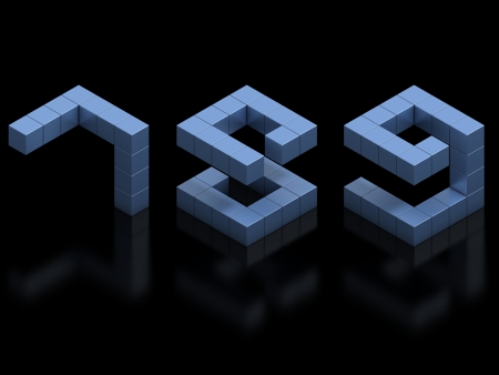 8 9: cubical 3d font numbers 7 8 9 Stock Photo