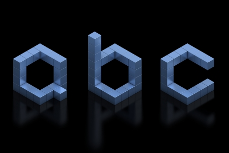 cubical 3d font letters a b c photo